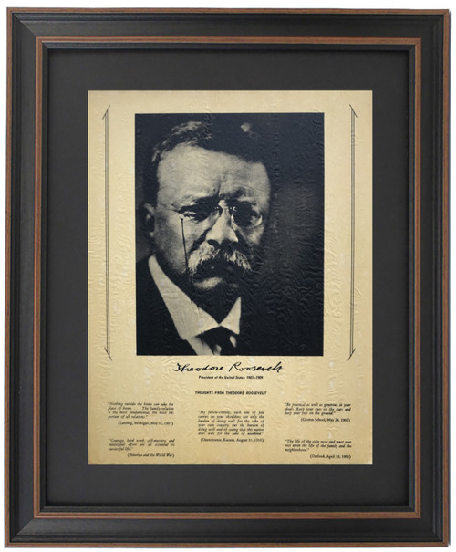 Framed Theodore Roosevelt Portrait & Quotes