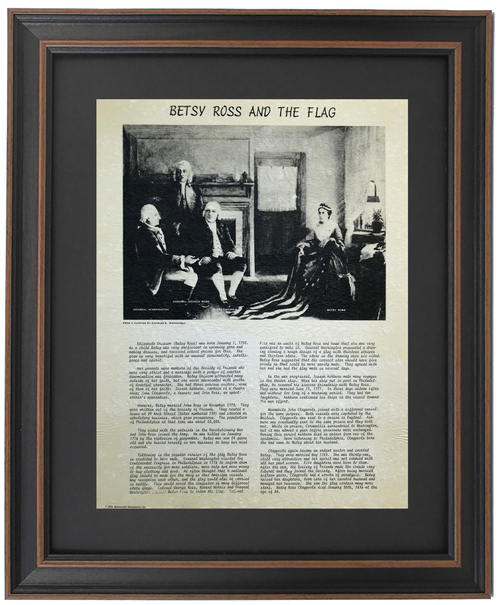 Framed Betsy Ross and The Flag Painting Replica with History of Life of Betsy Ross
