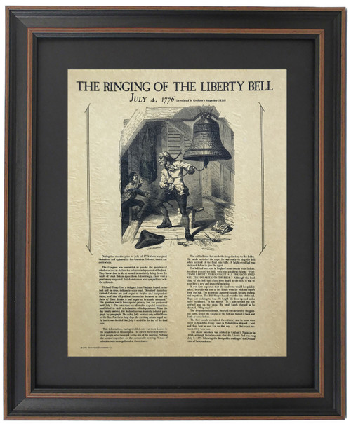 Framed Story of The Ringing of The Liberty Bell - July 4th 1776