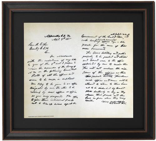 Framed General Grant's Letter To General Lee Regarding Terms Of Surrender