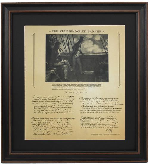 Framed Replica of The Star Spangled Banner in Francis Scott Key's Handwriting
