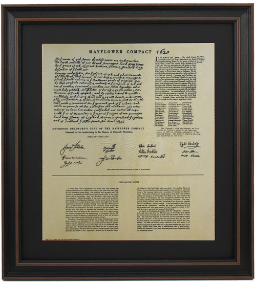 Framed Governor Bradford Copy of The Mayflower Compact 1620