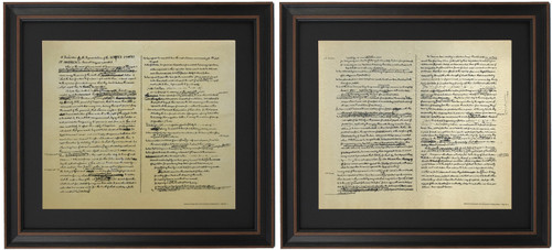 Framed Jefferson's Rough Draft of The Declaration of Independence Set