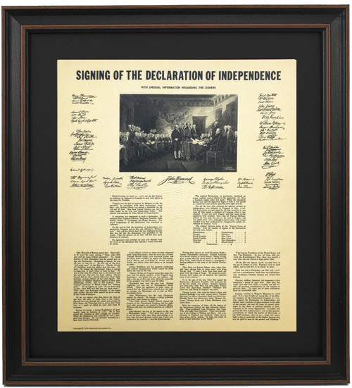 Framed Signing of The Declaration of Independence Scene with Unique Stories
