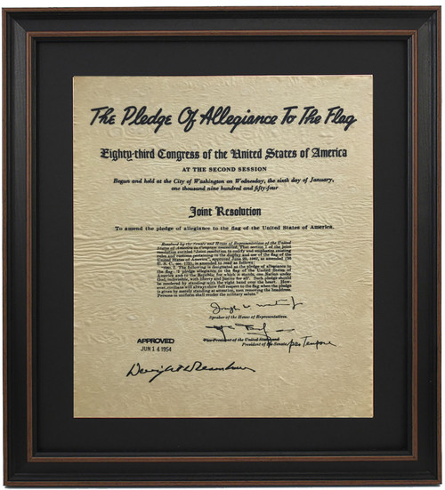 Framed Resolution of Congress to Amend The Pledge of Allegiance to The Flag 1954