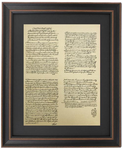 Framed First Draft of Virginia Declaration of Rights