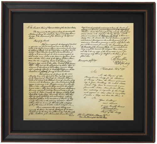 Framed Ben Franklin's Petition to Abolish Slavery