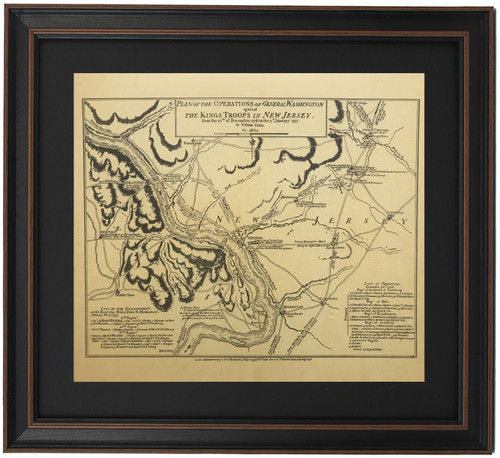 Framed Washington's Crossing Map and Battle of Trenton