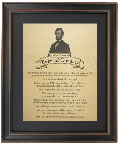 Framed Abraham Lincoln's Rules of Conduct