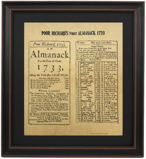 Framed First Poor Richard's Almanack 1733