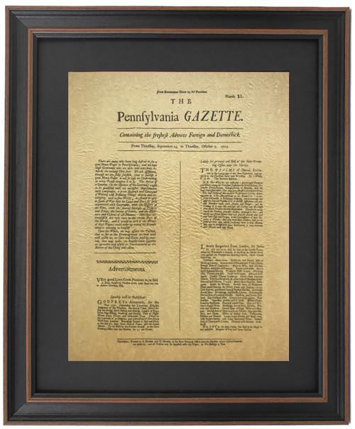 Framed First Edition of Ben Franklin's Pennsylvania Gazette 1729
