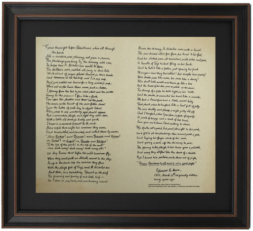 Framed Night Before Christmas Poem in Clement Moore's Handwriting