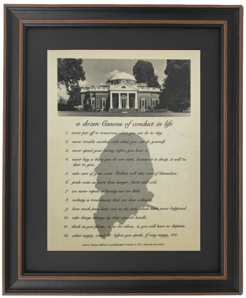 Framed Thomas Jefferson's Canons of Conduct in Life
