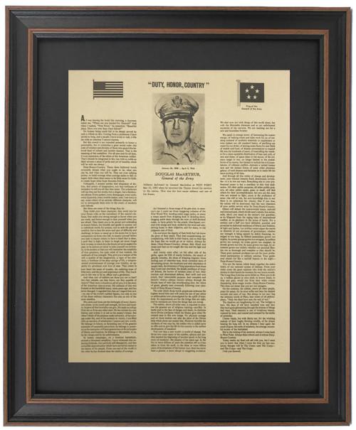 Framed Duty, Honor, Country Address - Douglas MacArthur