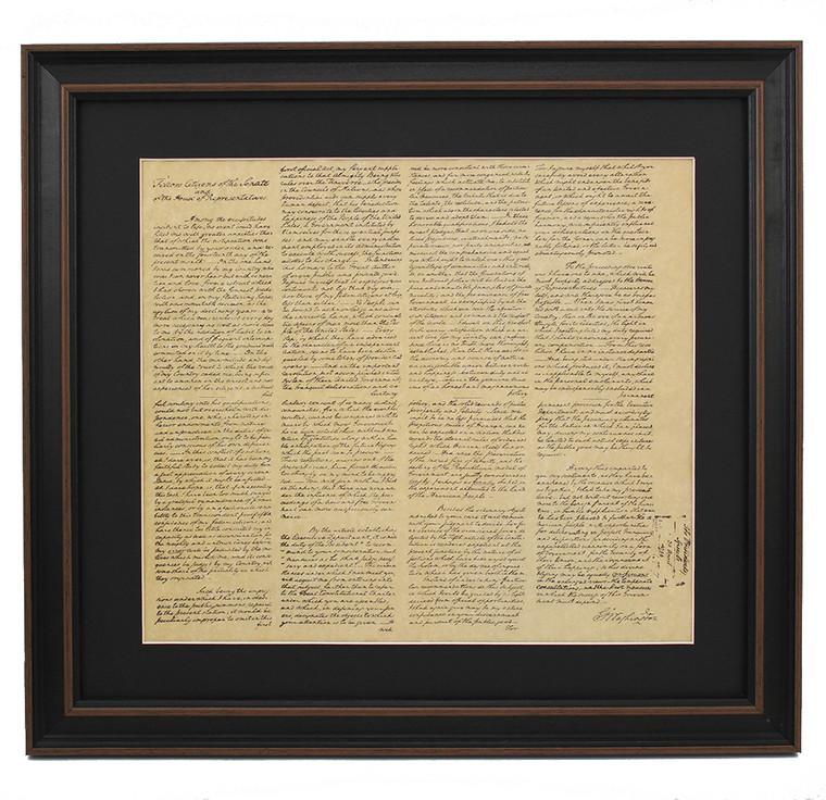 Framed Washington Inaugural Address
