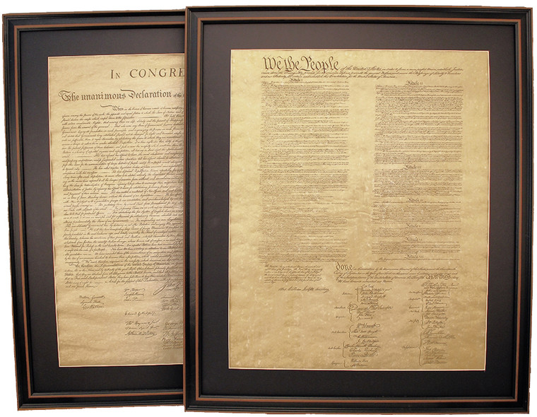 Poster Size Framed Constitution & Declaration of Independence Set with Mat