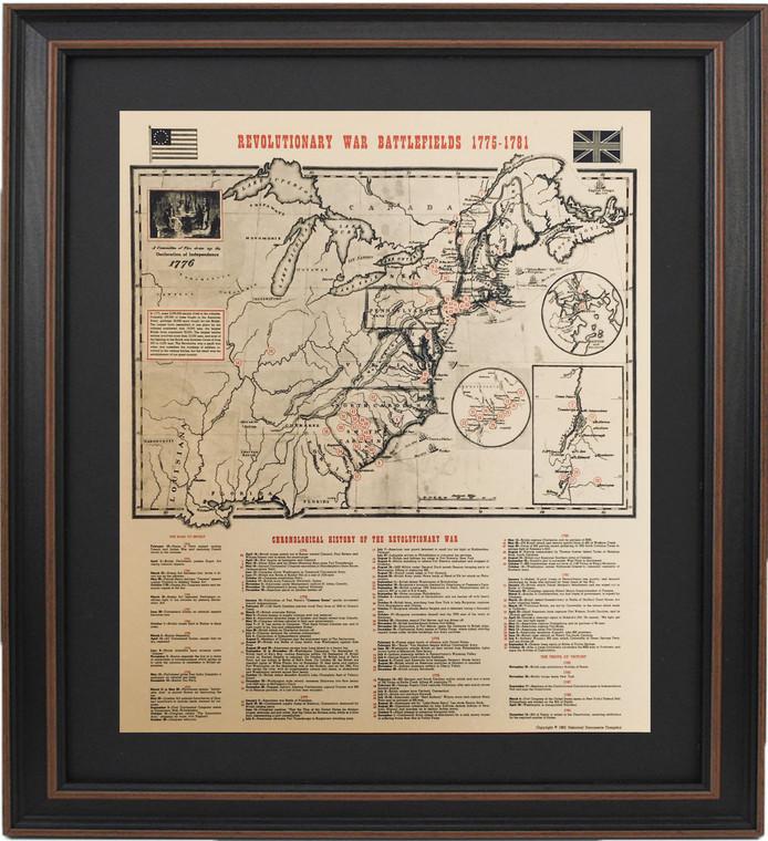Poster Size Framed Revolutionary War Battlefields 1775-1781 with Mat