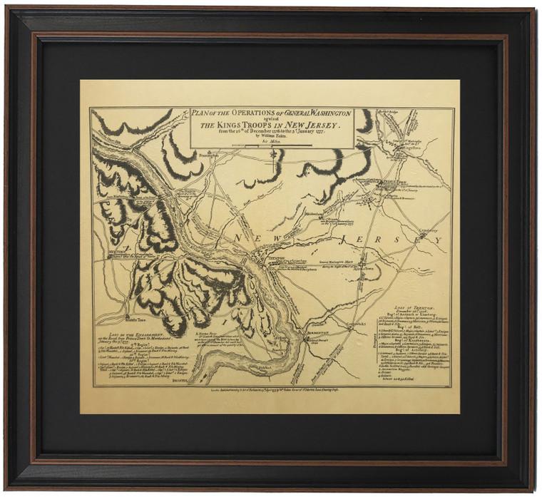 Framed Washington's Crossing Map and Battle of Trenton