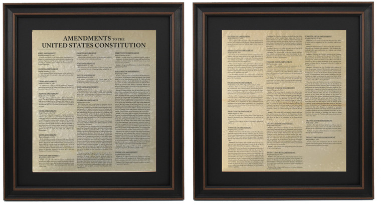 Framed Amendments to the United States Constitution Set