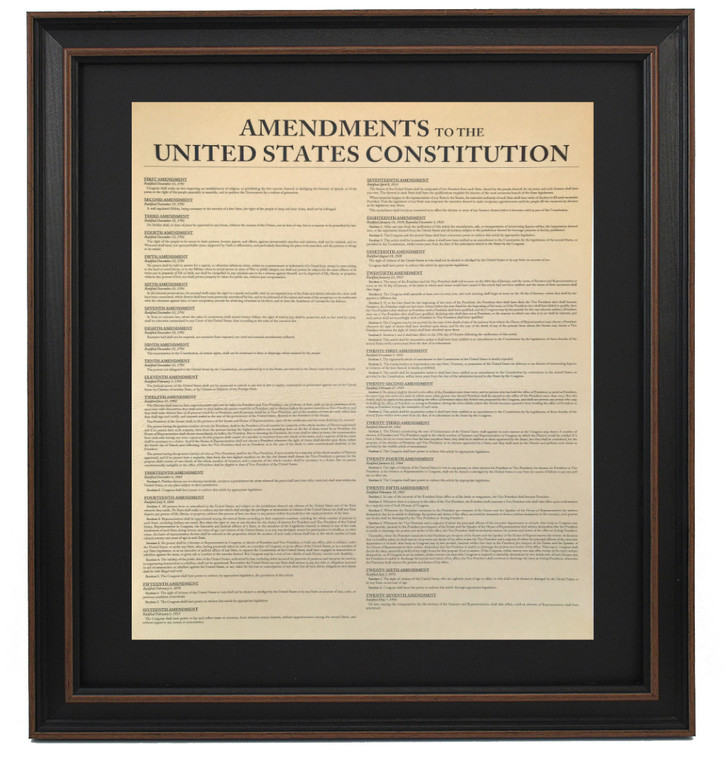 Poster Size Framed Amendments to the United States Constitution