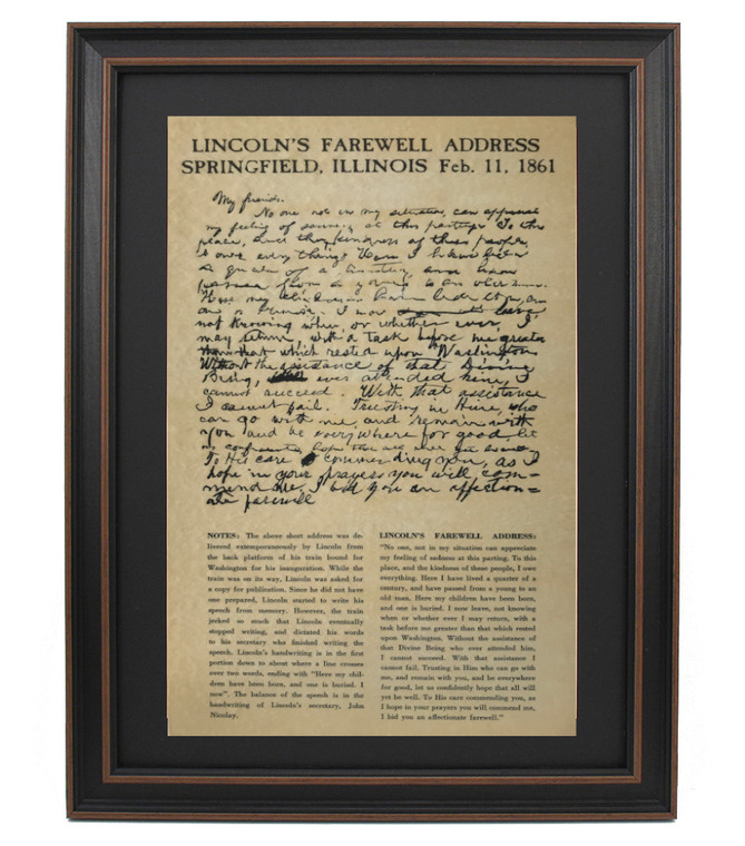Framed Lincoln's Farewell Address at Springfield, Illinois 1861