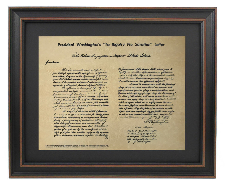 "Framed President Washington's ""To Bigotry No Sanction"" Letter 1790"