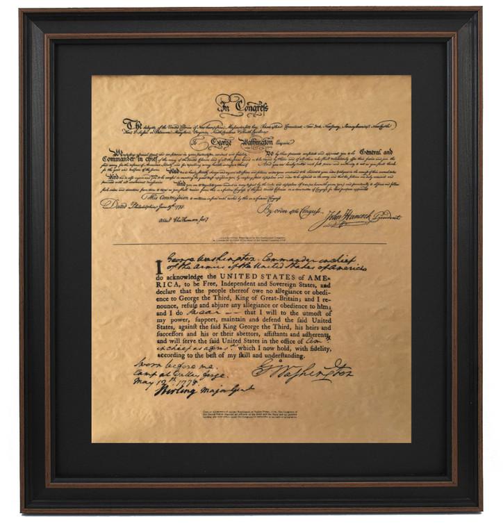 Framed Washington's Commission & Oath of Allegiance