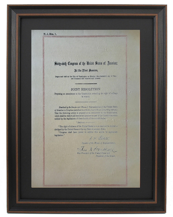 Framed Nineteenth Amendment to the United States Constitution