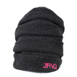 Charcoal & Pink Scrunch Beanie (OUT OF STOCK)