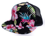 Side view of 252 Black & Pink Tropical Flatbill Flowers Hat