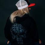 Black & Grey USA Skull Hoody