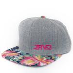 Light Grey Denim, Navy & Pink Hawaiian Flowers Flatbill SNAPBACK