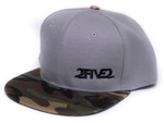 Side view of 252 Gray Camo Flatbill Snapback Hat