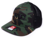side view of 252 army camo black fitted richardson 110 hat