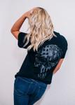 Black & Grey & USA Skull Tshirt