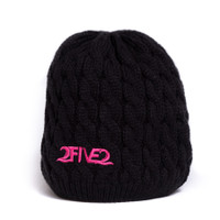 252 black and pink knit beanie