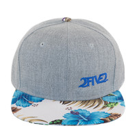 Light Grey, White & Blue Denim Tropical Hibiscus Flatbill SNAPBACK