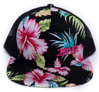 2FIVE2 Black / Pink Tropical Flatbill Flowers Hat