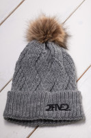 Grey & Black Fur Pom Pom Beanie