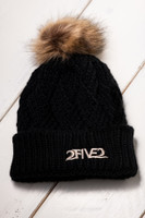 Black & Sandy Brown Fur Pom Pom Beanie