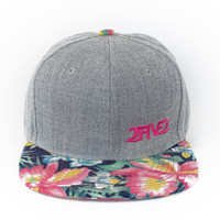 Light Grey Denim, Navy & Pink Hawaiian Flowers Flatbill SNAPBACK