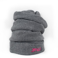 Heather Grey & Pink Scrunch Beanie