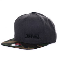 Heather Charcoal & Green Camo Flatbill SNAPBACK