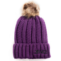 Purple Fur Pom Pom Beanie