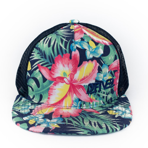 Blue Tropical Flatbill Flowers Hat