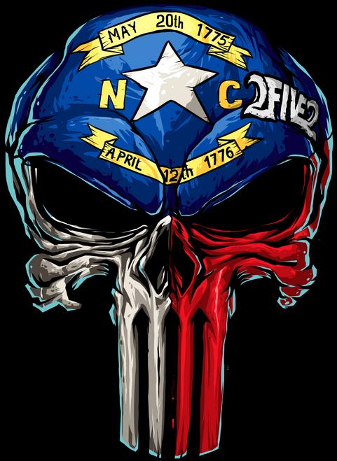 252 NC State Flag Skull Sticker
