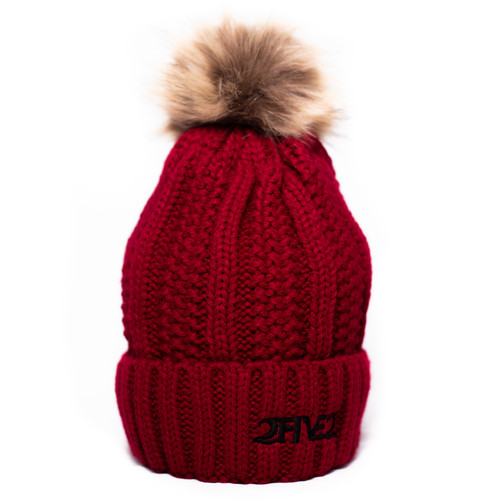 Red Fur Pom Pom Beanie