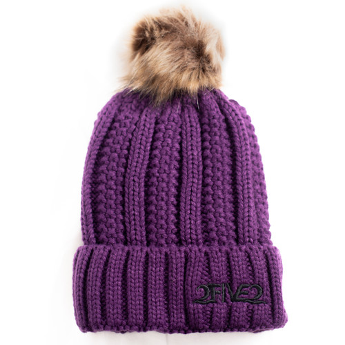 Purple Fur Pom Pom Beanie
