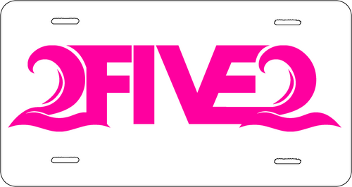 white and hot pink 2five2 nc license plate