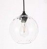 Living District LD2281 Cashel 1 light Black and Clear glass pendant